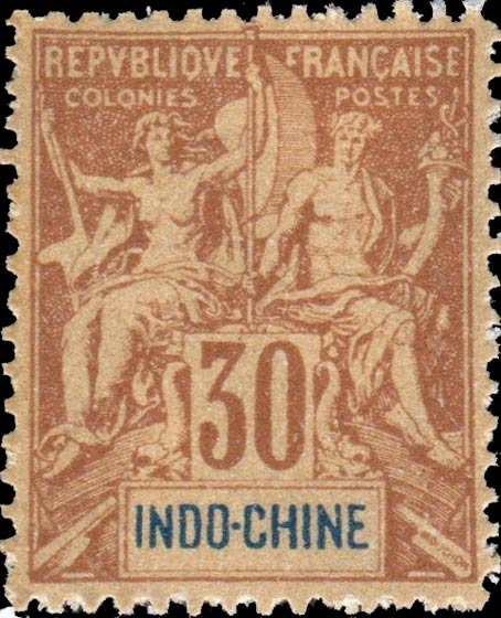 Indo_China_1892_30c_Hirschburger_Forgery