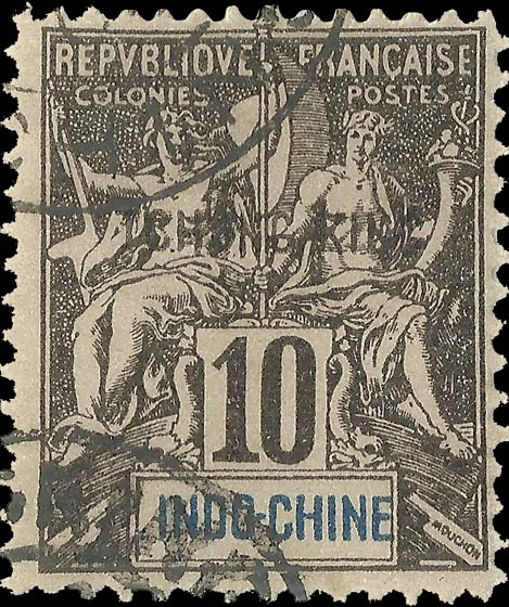 Indo_China_Tchongking_10c_Forgery
