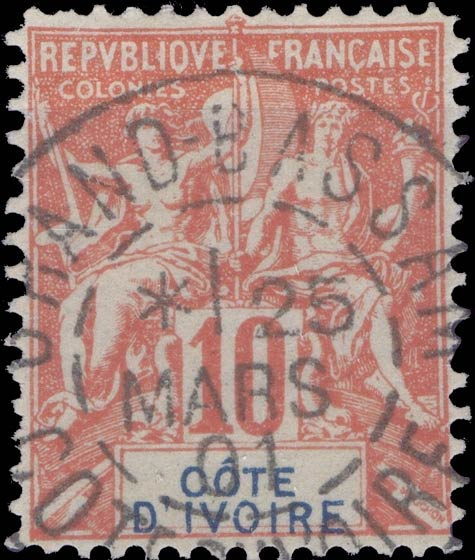 Ivory_Coast_1892_10c_Hirschburger_Forgery