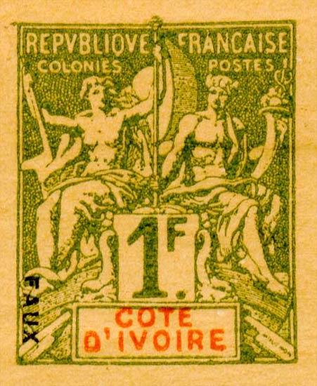 Ivory_Coast_1892_1f_Hirschburger_Forgery