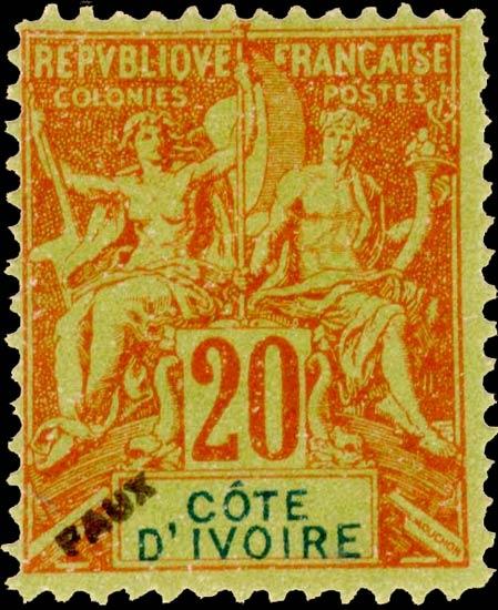 Ivory_Coast_1892_20c_Hirschburger_Forgery