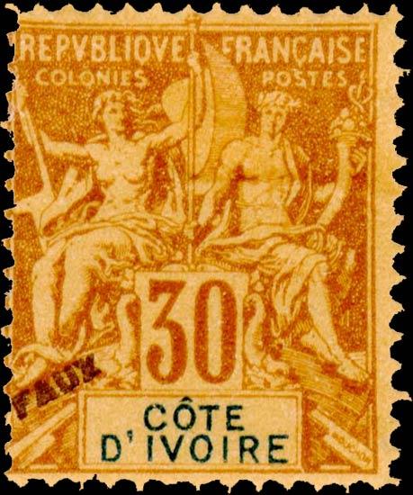 Ivory_Coast_1892_30c_Hirschburger_Forgery