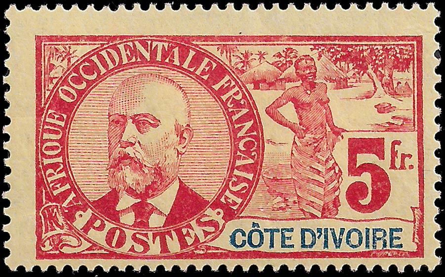 Ivory_Coast_1906_5f_Genuine