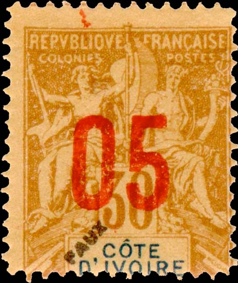 Ivory_Coast_1912_5c_Fournier_Forgery
