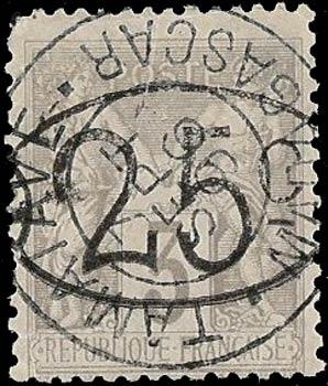 Madagascar_1896_25c_on_3c_Forgery