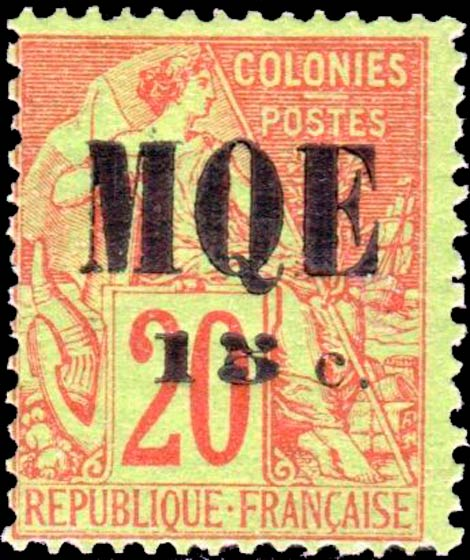 Martinique_1887_Surcharged_MQE-15c_Forgery
