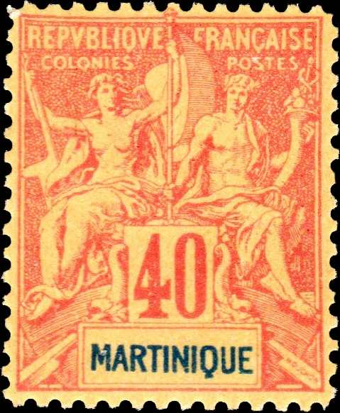 Martinique_1892_40c_Hirschburger_Forgery