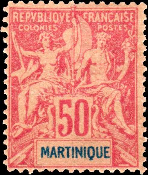 Martinique_1892_50c_Hirschburger_Forgery