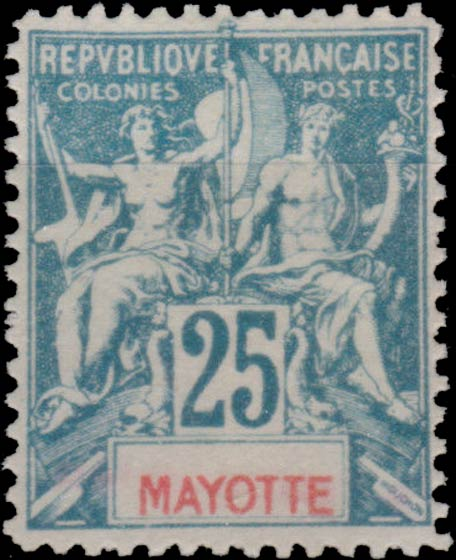 Mayotte_1892_25c_Hirschburger_Forgery