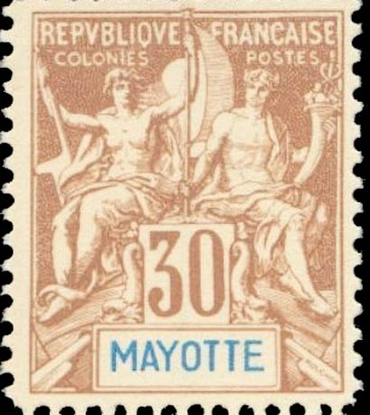 Mayotte_1892_30c_Modern_Forgery
