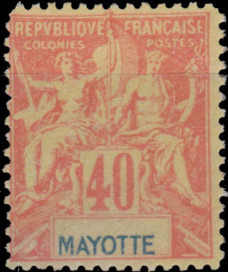 Mayotte_1892_40c_Hirschburger_Forgery