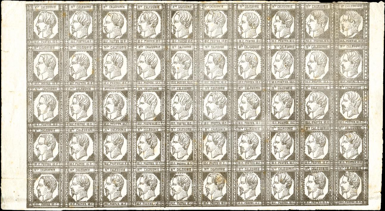 New_Caledonia_1860_Napoleon_Sheet_Genuine