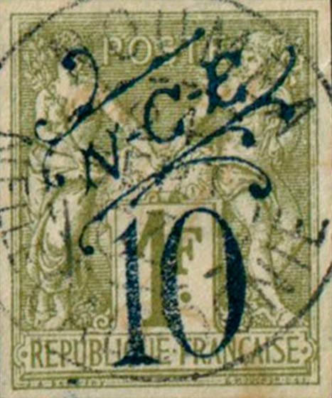 New_Caledonia_1892_10c-on-1f_Forgery