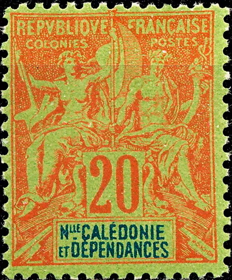 New_Caledonia_1892_20c_Hirschburger_Forgery