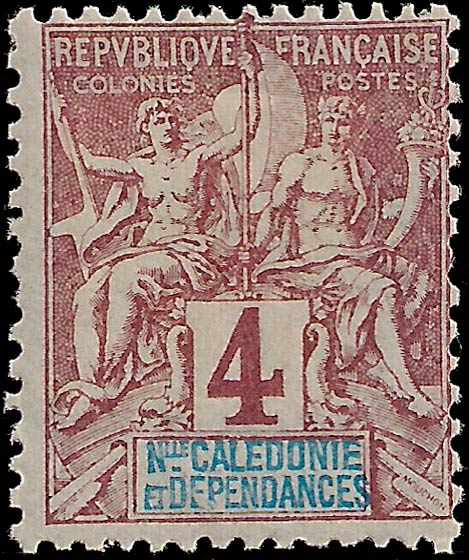 New_Caledonia_1892_4c_Genuine