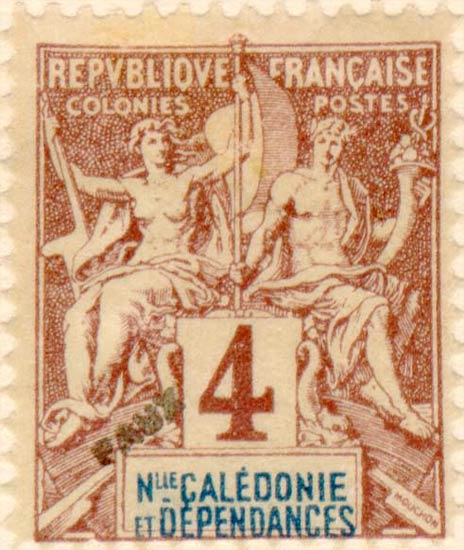 New_Caledonia_1892_4c_Hirschburger_Forgery