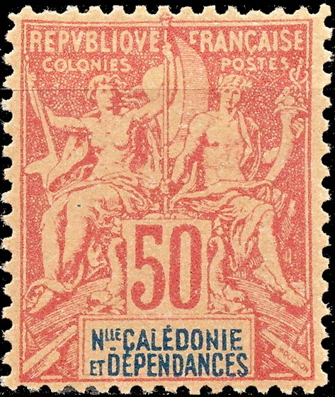 New_Caledonia_1892_50c_Hirschburger_Forgery