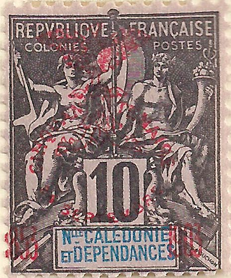 New_Caledonia_1903_10c_red_Genuine