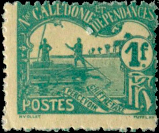 New_Caledonia_1906_Postage_Due_1f_Outrigger_Boats_Forgery