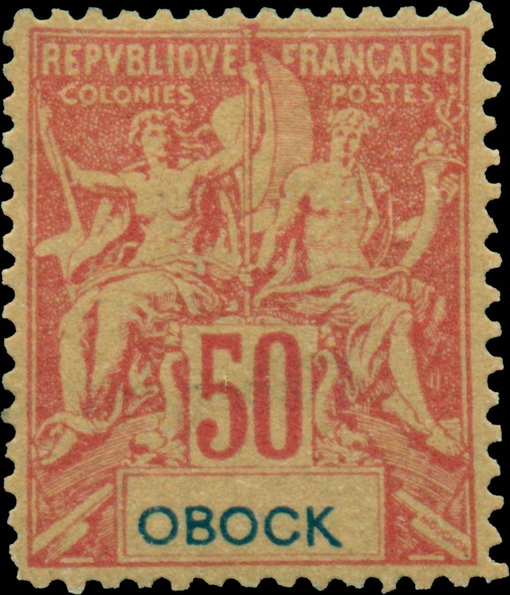 Obock_1892_50c_Hirschburger_Forgery