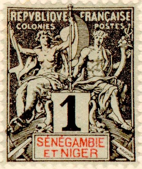Senegal-Niger_1892_1c_Hirschburger_Forgery1