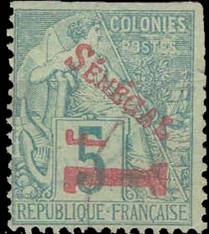 Senegal_1892_1f-on-5c_red_Forgery
