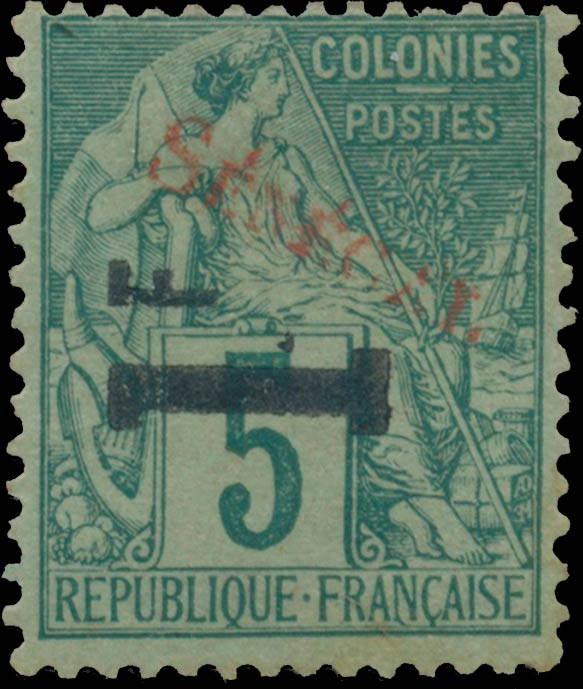 Senegal_1892_1f-on-5c_red_Genuine