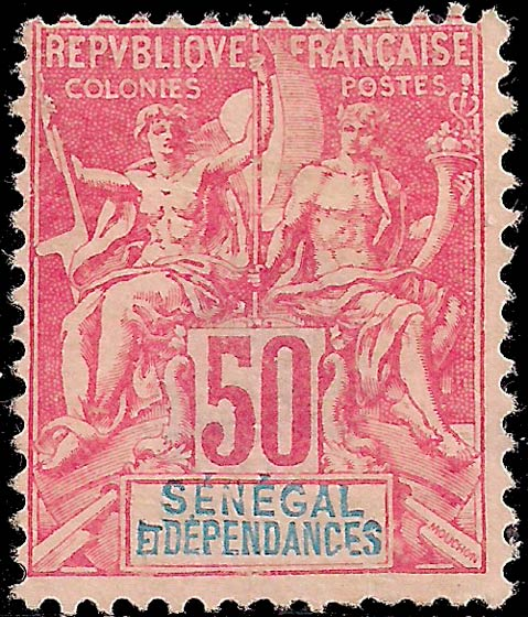 Senegal_1892_50c_Genuine