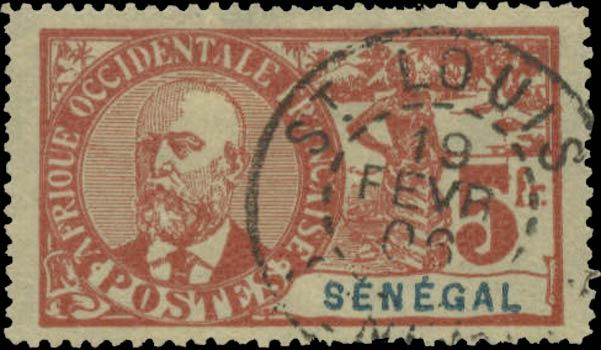 Senegal_1906_General_Faidherbe_5f_Forgery1