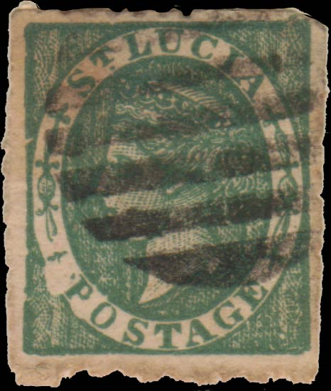 St.Lucia_QV_6p_green_Taylor_Forgery