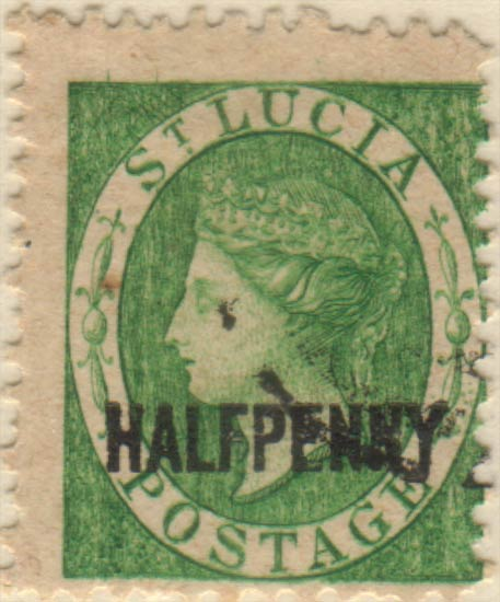 St_Lucia_QV_1p_Half_Surcharge_Oneglia_Forgery