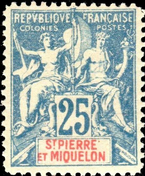 St_Pierre_Miquelon_1892_25c_Hirschburger_Forgery