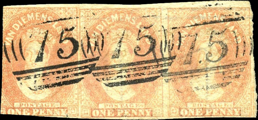 Tasmania_1855_QV_Chalon_1p_Strip_Forgery