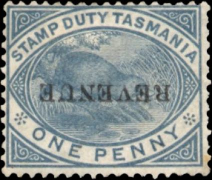 Tasmania_1880_Playypus_revenue_overprint_Forgery