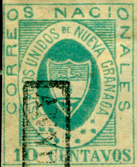 Colombia_1861_Coat_of_Arms_10_centavos_Forgery