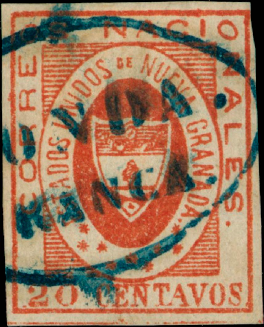 Colombia_1861_Coat_of_Arms_20_centavos_Genuine