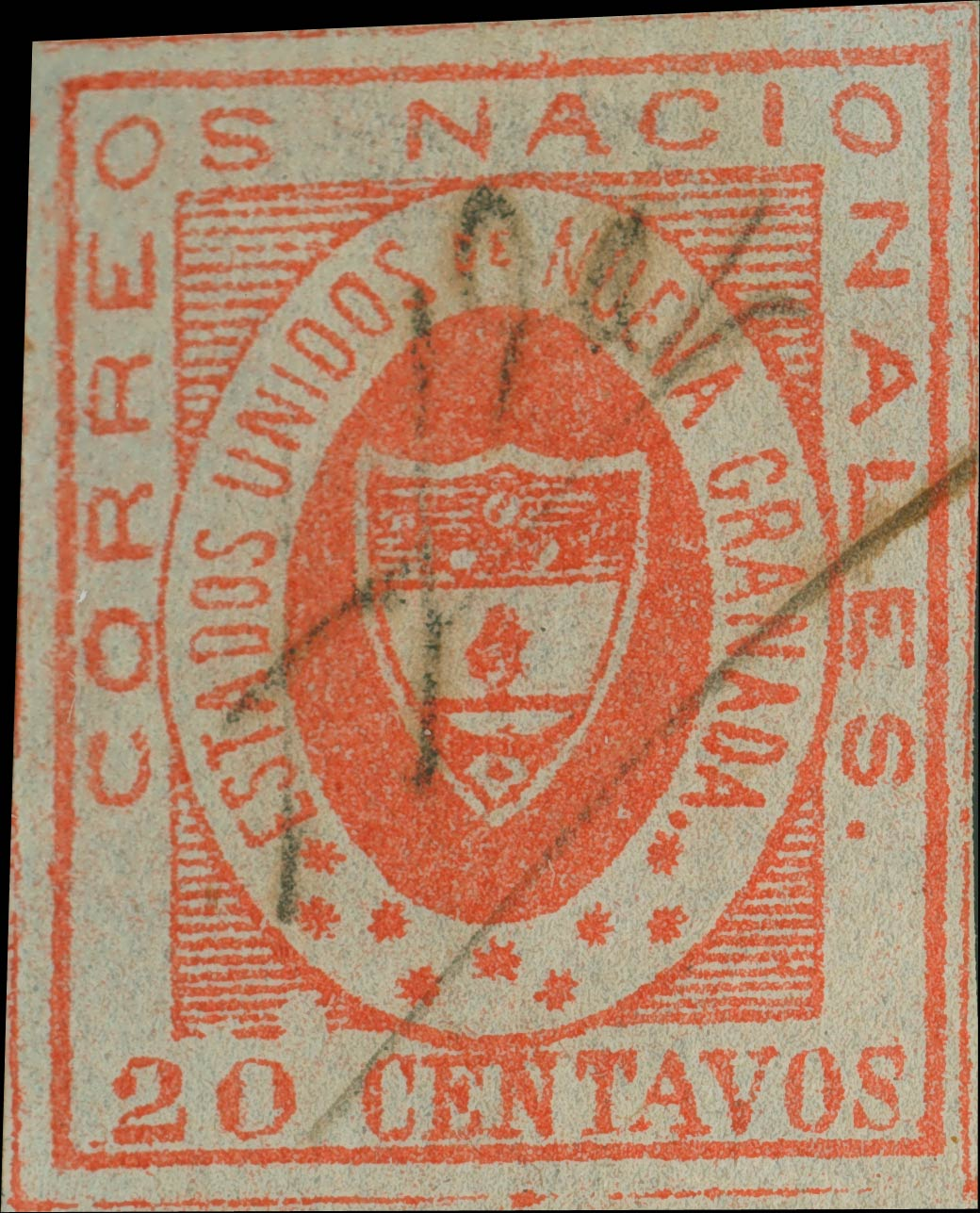 Colombia_1861_Coat_of_Arms_20_centavos_Sperati_Forgery
