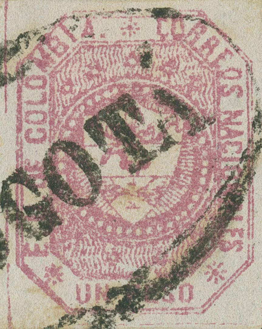 Colombia_1862_Coat_of_Arms_1p_Sperati_Forgery