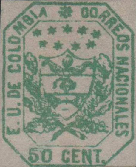 Colombia_1863_Coat_of_Arms_50c_Forgery