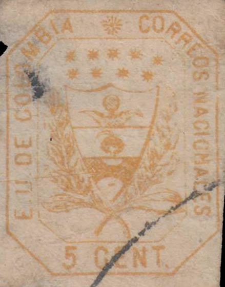 Colombia_1863_Coat_of_Arms_5c_Forgery