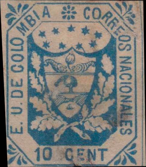 Colombia_1864_Coat_of_Arms_10c_Forgery