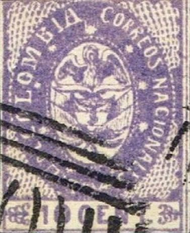 Colombia_1865_Coat_of_Arms_10c_Forgery