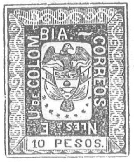 Colombia_1867_Coat_of_Arms_10pesos_Torres_illustration