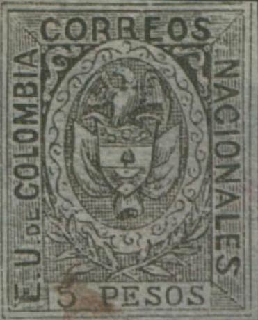 Colombia_1867_Coat_of_Arms_5p_Forgery