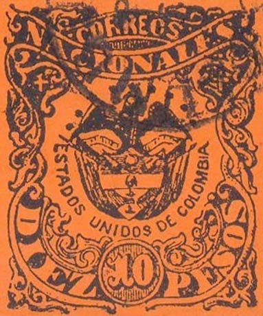 Colombia_1868_Coat_of_Arms_10p_Forgery