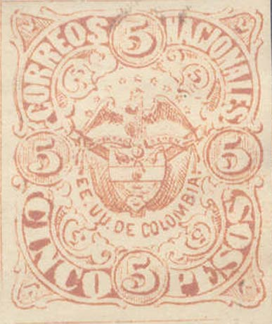 Colombia_1868_Coat_of_Arms_5p_Unofficial_Reprint