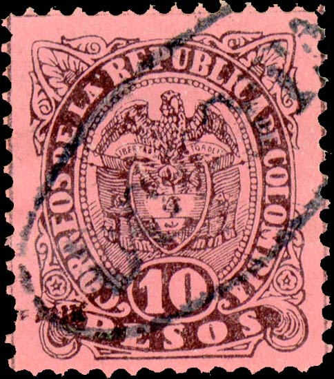 Colombia_1883_Coat_of_Arms_10p_Fournier_Forgery1