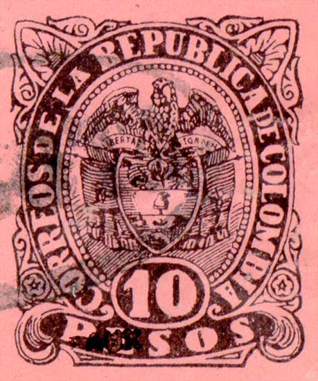 Colombia_1883_Coat_of_Arms_10p_Fournier_Forgery2