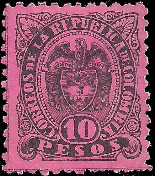 Colombia_1883_Coat_of_Arms_10p_Genuine
