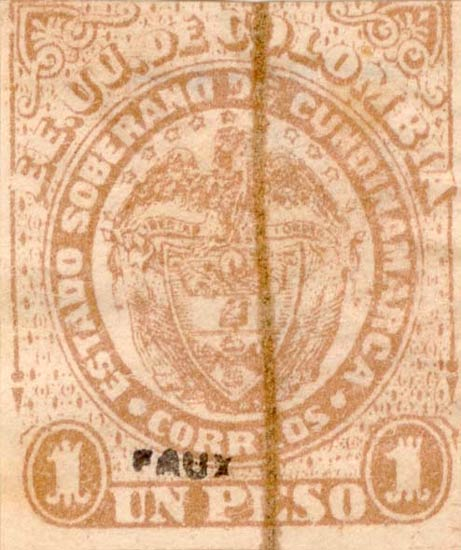 Colombia_1888_Coat_of_Arms_1p_Fournier_Forgery